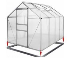 Serre de jardin aluminium polycarbonate 7,63m³ 250x190x195cm avec les fondations et la fenêtre