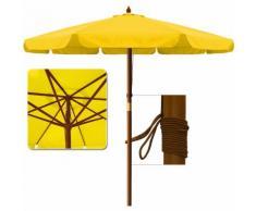 Parasol en bois Ø 350cm Jardin Extérieur Système à corde 100% Polyester - Jaune - DEUBA