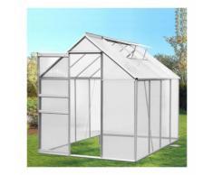 Serre de jardin aluminium et polycarbonate 4.75 m² 250x190x195 cm translucide - IDMARKET