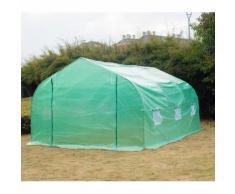 Serre tunnel de jardin 4,5 x 3 x 2 m grande taille 6 fenêtres vert 20 - HOMCOM