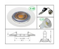 LOT DE 40 SPOT ENCASTRABLE FIXE LED GU10 230V BLANC AVEC COB LED 5W RENDU ENVIRON 50W HALOGENE