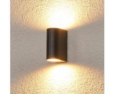 Applique Palina 2 ampoules mur gris graphite lampe d'extérieur aluminium - LAMPENWELT