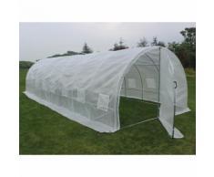 "Serre tunnel de jardin avec porte ""Mimosa"" - 220g/m2 - 24m² - 8 x 3 x 2 m - HABITAT ET JARDIN"