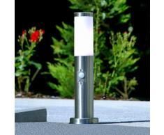 Borne lumineuse Kristof détecteur de mouvement capteur inox épurée E27 - LAMPENWELT
