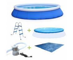 Kit piscine Cristal Ø420x84cm gonflable bleue, autoportante ronde avec pompe de filtration, bâche,