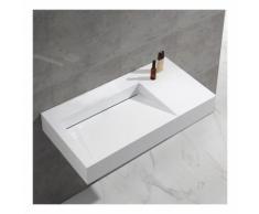 Lavabo Suspendu Rectangulaire Blanc Mat, 100x50 cm,Composite, Lodge - RUE DU BAIN