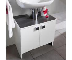Meuble sous lavabo 2 portes - largeur 59cm coloris blanc et anthracite - M&S