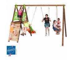 Portique bois et métal 2,30 mur d'escalade, plateforme pour 7 enfants - M&S
