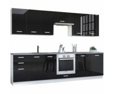 Pack cuisine complète ultra moderne 300 cm coloris blanc mat et noir laqué - COMFORIUM