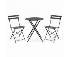 Salon de jardin bistrot pliable Emilia rond gris anthracite, table Ø60cm avec deux chaises