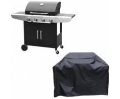 Barbecue au gaz KENTUCKY - 4 brûleurs avec thermomètre + housse - HAPPY GARDEN