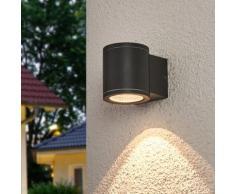Applique d'extérieur LED Nuria rond aluminium gris foncé blanc chaud lampe - LAMPENWELT