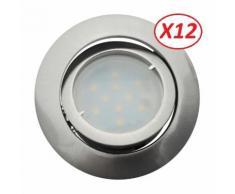 Lot de 12 Spot Led Encastrable Complete Satin Orientable lumière Blanc Neutre eq. 50W