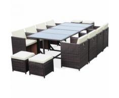 Salon de jardin Cubo Chocolat table en résine tressée 8 à 12 places, fauteuils encastrables