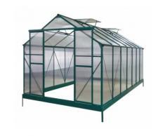 Serre de jardin 12,2m² verte polycarbonate 4mm + embase Green Protect