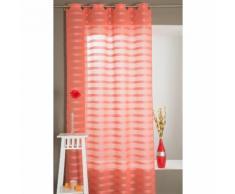 Magnifique Rideau Voilage Effet Lin à Oeillets 140 cm x 240 cm Etamine Rayé Corail