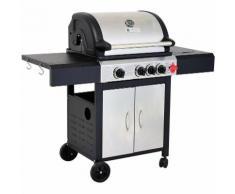 Barbecue à gaz inox de haute qualité BRIO - 3 brûleurs plus 1 feu latéral avec tablettes