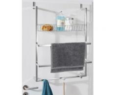 Porte-serviettes et étagère de salle de bain coloris argenté