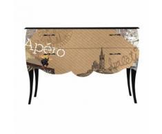 Print Baroque - Apéro Grande Commode à 2 tiroirs - Imprimé Rétro Délicat Alinea Noir