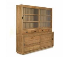 Emotion Vaisselier en teck avec portes, tiroirs et vitrines 215cm - Livré monté Alinea Naturel