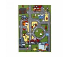 Vroum Tapis rectangulaire 90x133cm motif circuit pour enfant Alinea Multicolore