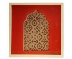 Beni Affiche fenêtre rouge orientale encadrée dans une vitrine 30x30cm Alinea Rouge