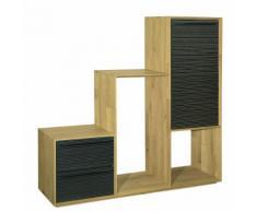 Fine meuble Étagère escalier biseautée en chêne clair avec 1 porte et 2 tiroirs noirs Alinea Naturel