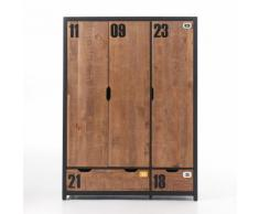 Armoire de chambre en bois finition pin brossé Hauteur 200 cm ALEX 3 portes
