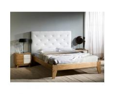 Lit deux personnes en bois avec tête de lit CALY Blanc 160x190cm