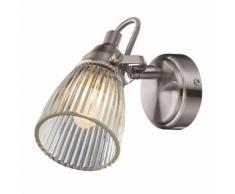 Spot simple pour salle de bain en métal chromé et verre strié diamètre 9cm Lada