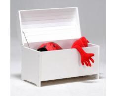 Coffre à jouets bois massif avec abattant anti-pincement PIRATE Laqué Blanc