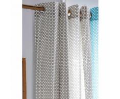 Rideau tamisant à œillets 100% coton losange rosace 140x240cm MAORY Mastic