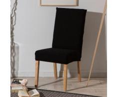 Housse de chaise unie extensible effet nid d'abeille HUGO Noir