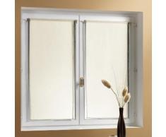 Voilage vitrage à passant polyester uni - lot de 2 ADONIS Blanc 60x160cm