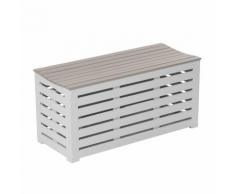 Banc / coffre de jardin en acacia 90x38x43cm - 147L BURANO Argile douce