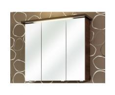 Armoire de toilette portes miroir avec éclairage LED WILLIAMS Moka 3 portes