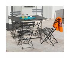 Salon de jardin pliant 4 places en acier : table rectangulaire 110x70cm + 4 chaises POP Anthracite
