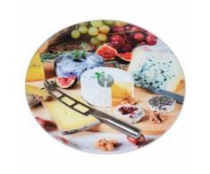 Plateau rond à fromage en verre tournant à motifs D.35cm BISTROT