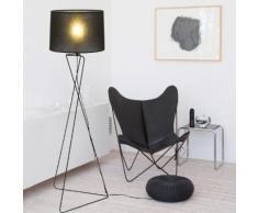 Lampadaire trépied en métal avec abat jour cylindre en PVC hauteur 126cm Marquise Noir