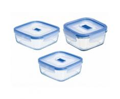 Boîte de conservation en verre avec valve transparent - Set de 3 PURE BOX ACTIVE Carrée
