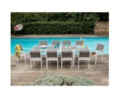 Salon jardin Aluminium Table extensible 135/270cm + Chaises et Fauteuils empilables MODENA 10 places
