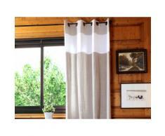 Rideau tamisant à oeillets 100% coton parement bicolore rayures 135x260cm ANGELE Lin