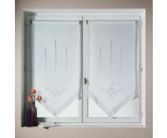 Voilage vitrage à passant polyester brodé fleur bout pointe blanc - lot de 2 BONNE FEMME 60x90cm