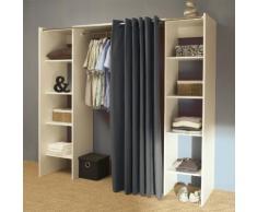 Dressing extensible 8 niches 1 penderie en bois L112/185xP50xH182cm ARTEMIS Blanc/gris