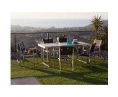 Salon de jardin 6 places : 1 table 180x90cm en composite + 6 fauteuils en polyester enduit et aluminium brossé ELEGANZA