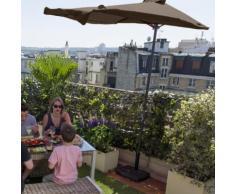 Demi-parasol de balcon rectangulaire acier et polyester 180g avec manivelle 230x120cm Taupe
