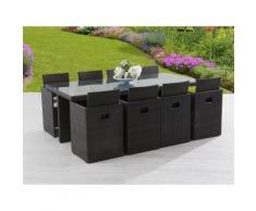 Salon de jardin encastrable 8 places : table 210x105cm résine tressée plateau verre + 8 fauteuils acier et résine tressée CLASSIQUE Chocolat