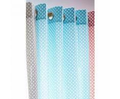 Rideau tamisant à œillets 100% coton losange rosace 140x240cm MAORY Portofino blue