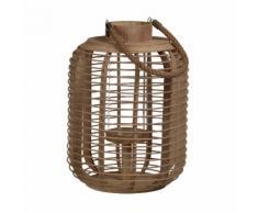 Lanterne ovale en bambou et verre avec anse en corde ARCHI Petit modèle