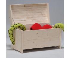 Coffre à jouets bois massif avec abattant anti-pincement PIRATE Brut
